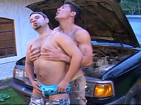 Two kinky gays enjoy licking and fucking each other's butts outdoors