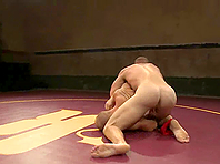 A slutty faggot gets fucked by his rival on tatami