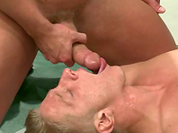 A muscled gay hunk enjoys fucking and beating a twink on tatami