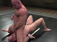 Luke Riley gets his mouth and ass fucked after a fight on tatami