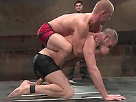 Horny gays Cole Streets and Patrick Rouge fight and fuck on a ring