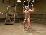 Derek Pain gets bound and tortured by Van Darkholme and other gays
