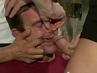 A gay gets his small cock sucked and his butt drilled hard