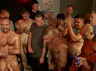 DJ gets forced to suck many cocks in group BDSM scene