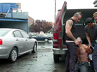 Horny poof Gianni Luca gets suspended and fucked hard in a garage