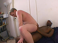 Chubby blonde gay feels happy to suck and ride a hard BBC