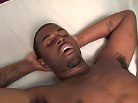 Black hunk allows a brunette lad rub and stroke his amazing BBC