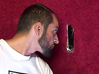 Tattooed gay Tom Colt plays with a gloryhole BBC and can't stop