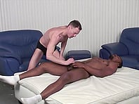 Jason Gray gives hand to his handsome black gay BF