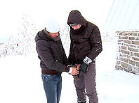 Paul Fresh and Martty bang outdoors in winter and enjoy themselves