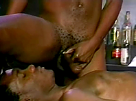Black homo gets his ass licked and fucked deep in a bar