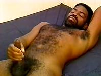 Black gay bear sucks a weiner and gets his hairy ass slammed