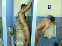 Queer sucks a dick through a gloryhole and gets his butt slammed
