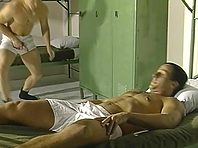 Three gay hunks enjoy ardent oral sex and banging in barracks