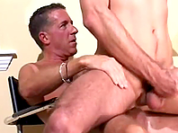 Two gay daddies bang on the floor after sucking each other's cocks
