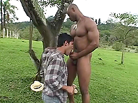 Black hunk drills slutty Latino's butthole from behind in the field