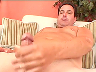 Chubby gay daddy moans sweetly while jerking his boner off