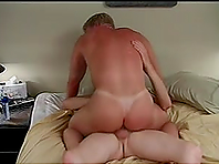 Blond homos fuck in cowboy position after exploring each other's butts