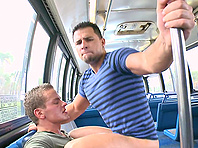 John Stone gives a blowjob to Randy Star and rides his dick in a bus