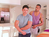 Sexy gay Robert Axel gives blowjob to Giovanni and rides his hard cock