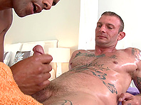 Black gay hunk Robert Axel lets Ricky Sinz pound his asshole