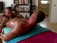 Lewd queer Trace Michaels seduces Parker and fucks him in massage parlor