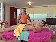 Trace moans with pleasure while getting his ass fucked by Aaron Rivers