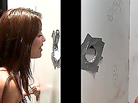 Blond poofter enjoys sucking and rubbing a gloryhole wang
