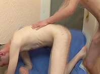 Slutty homosexual sucks a prick and enjoys hard doggy style banging