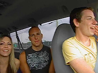 Horny poofter Ryann Wood and his buddy make gay love in a car