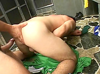 A nasty gay gets his butt fucked from behind in a public shower