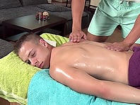 Tattooed homo enjoys massage and gets his asshole slammed