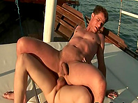 Depraved gay gets his butt banged in the reverse cowboy pose