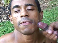 Ebony-skinned gay guy with a sexy body sucking his boyfriend's cock