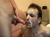 Scruffy gay guy with a nice body sucking his boyfriend's big cock